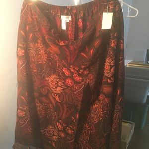 Coldwater Creek floral patch slit skirt NWT XL